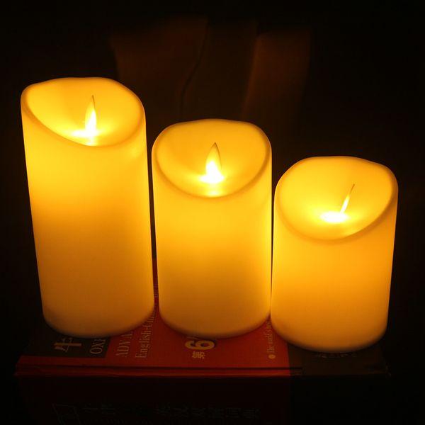 3pcs / Set Alevsiz LED Mum Lamba Alev Sarı LED Mum İşletilen Night Lights Düğün Ev Dekorasyon T191026 Salıncak