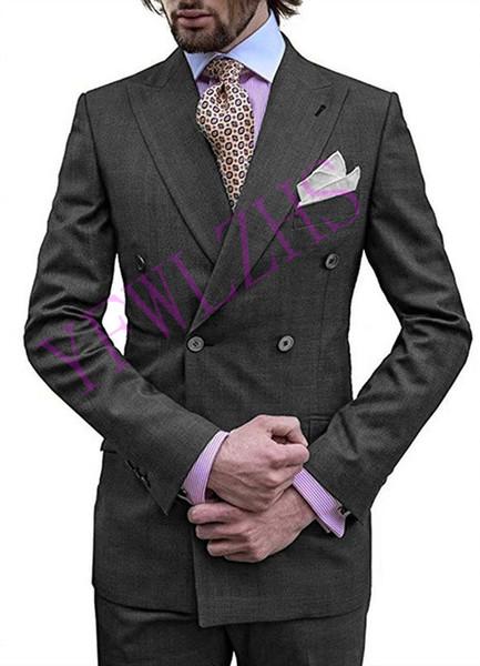 Apuesto doble de pecho de los padrinos de pico solapa esmoquin novio trajes de hombre / (Jacket + Pants + Tie) B134 boda de Baile / Cena mejor hombre Blazer