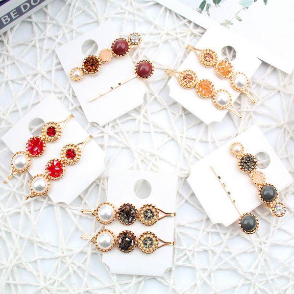 INS 2Pcs / Set pinces à cheveux filles perle clips femmes de cristal de cheveux accessoires pour cheveux princesse Boutique filles de BB pour les femmes barettes pince A9636