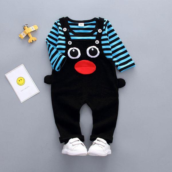 good quality Spring Autumn Baby Boys Clothing Sets Kids striped T shirt + Belt Pants 2pcs set toddler cartoon Clothes Set Tracksuit