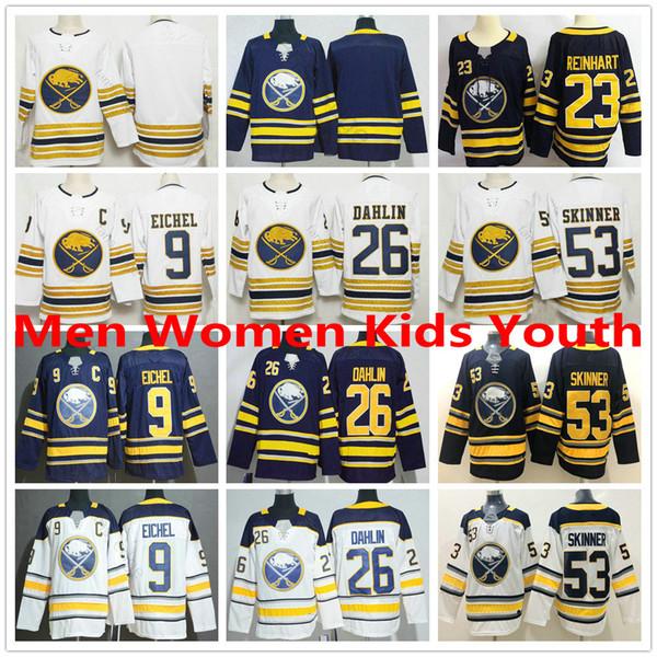 Buffalo Sabres Golden 50th Season Third Hockey Maglie # 9 Jack Eichel 53 Jeff Skinner 26 Rasmus Dahlin 23 Sam Reinhart Uomini Donne Bambini Giovani