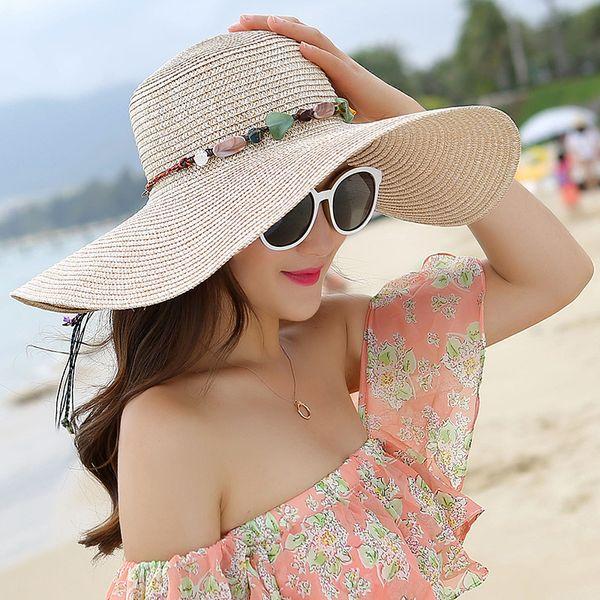 2019 Verão Chapéus de Praia Para As Mulheres Moda Aba Larga Chapéus De Palha Grande disquete chapéu de Sol ao ar livre Das Senhoras Elegantes cocar sólidos sunhat Caps