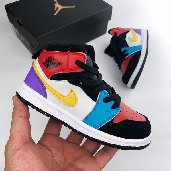 Venta caliente 1s Zapatillas de baloncesto para niños Zapatillas de deporte de calidad superior para niños, niñas y niños, zapatillas deportivas de verano al aire libre, tamaño 26-35.