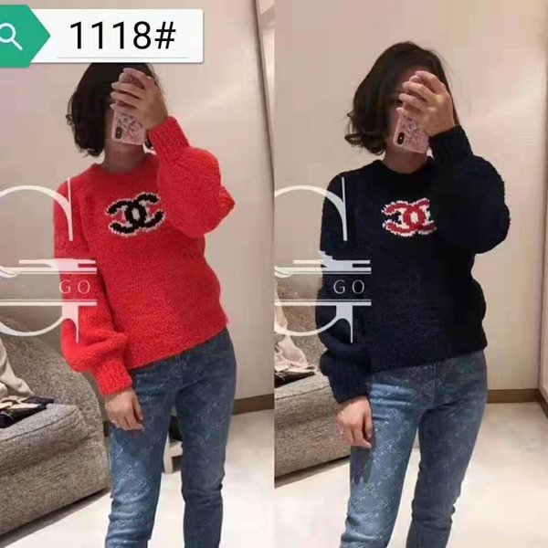 newest 5 colors women LUXURY sweaters hoodies pullover C Letter blue red HIGH Quality Female Knitting Blouses Sweater Factory made