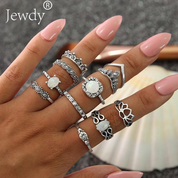 11 Pcs/set Vintage Knuckle Opal Rings For Women Boho Geometric Flower Crystal Ring Set Bohemian Midi Finger Jewelry Bague Femme