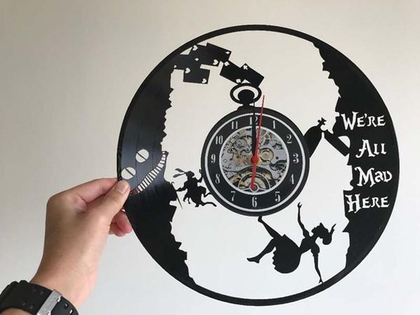 Girl Vinyl Record Crazy Record Wall Art Decor Home Decor Handmade Art Personality Gift Size 12 Inches Color Black Desk Clock Desk Clocks From
