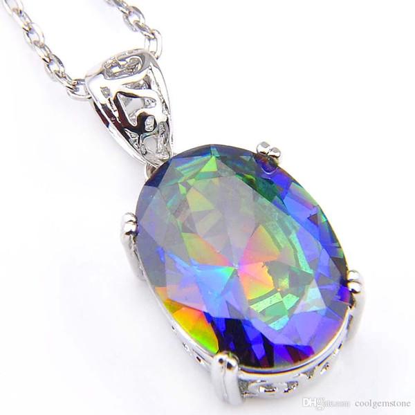 Luckyshine 6Pcs/Lot Oval Rainbow Mystical Fire Topaz Gemstone Platinum Plated Pendants For Women Pendants Jewelry