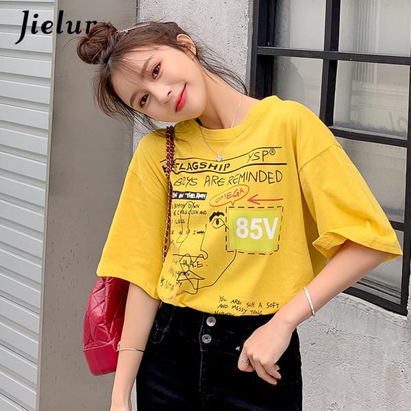 Coton Femme Tshirt Harajuku Sweet Girls Lettre En Vrac Imprimé T-shirt Blanc De La Mode Coréenne Style O Cou Jaune Top Été