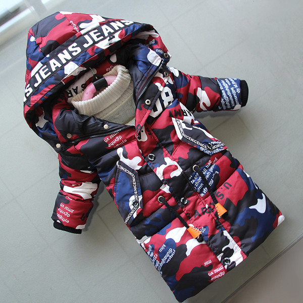 good quality Jacket For Boys 2019 New Fashion Hooded Winter Jackets Graffiti Camouflage Parkas For Boys Thick Long Coat Kids Clothes