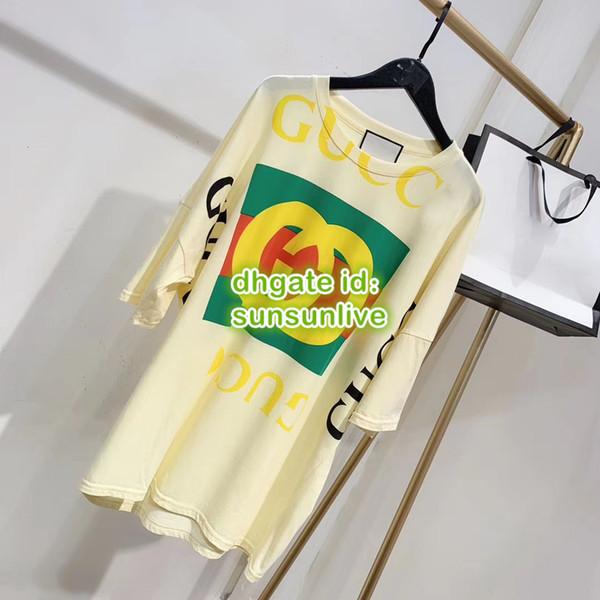 Mulheres Oversize Carta Do Vintage de Impressão de Manga Curta Camisa Longa T-Shirt High End Feminino Tops Curtos Camisas Casuais Colete de Runway Verão Tee vestido