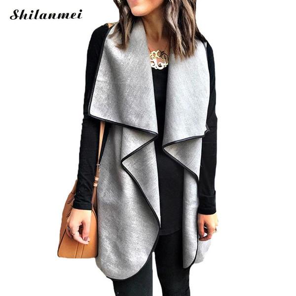High Street Женщина жилет Пальто осени зима мода рукава кардиганы дама Элегантный жилет куртка Сплошной серый Повседневный Жилет