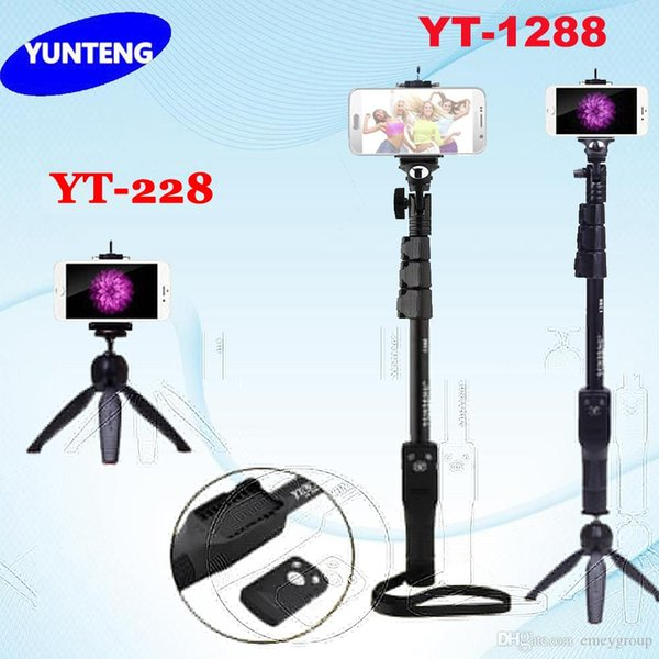 Bastone selfie allungabile Bluetooth per fotocamera Telefono Yunteng 1288 telescopico monopiede o 228 mini treppiede per iPhone 5 6 7 Samsung