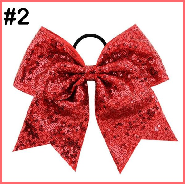 free shipping 60pcs 8 Inch Bling Sparkly Glitter Sequins Pigtail Bows For Girls Large Cheerleader Hair Bows Ponytail Holder Elastic Hair