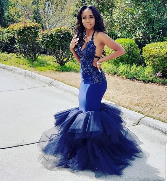 Sexy Mermaid Black Girls Evening Dresses Halter Open Back Appliques Ruffles Tulle Royal Blue Plus Size Formal Prom Party Gowns