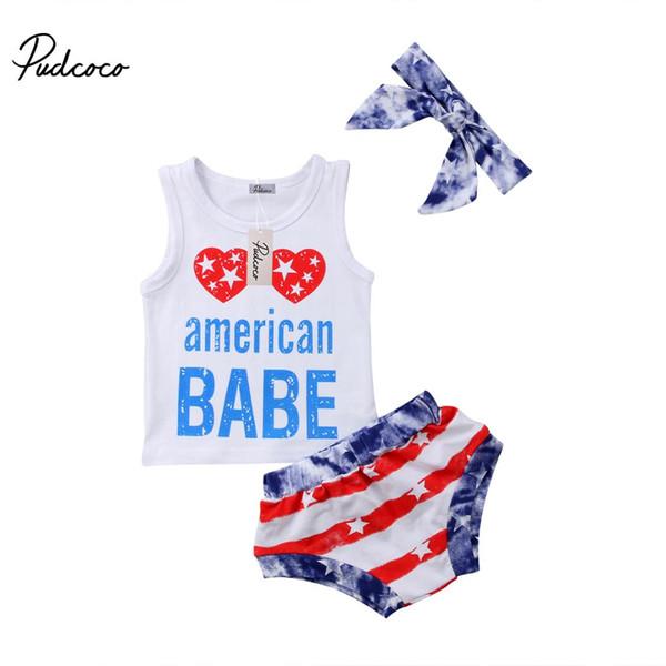 2018 Brand New Infant Toddler Kids Baby Boy Girl Pagliaccetto in cotone Bandiera americana Pantaloni Pantaloni Fascia 3 pezzi Outfit casual Set 0-4 T