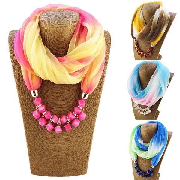 Multi-colors Unique Gradient Head Scarves Printing Pattern Chiffon Beads Scarf Statement Maxi Necklace Women Muffler scarf