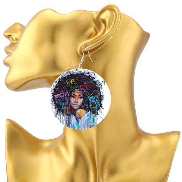 My Christmas Dream 2019.2019 Anshoor Love My Afro Dream Wooden Earrings Graffiti Gigi Twa Ethnic Drop Dangle Jewelry Christmas Deal Dropshipping Sanshoor Love M From