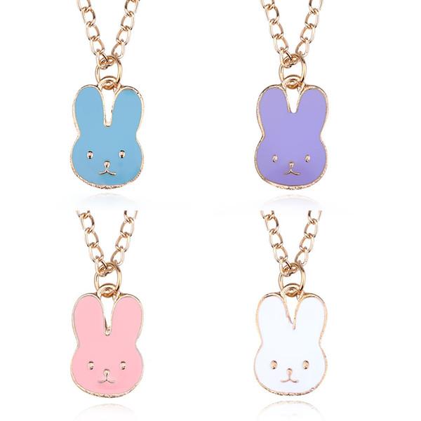 Coreano esmalte cabeça de coelho pingente colares mulheres dos desenhos animados bonitos pequenos animais charme correntes de ouro para homens moda jóias presente
