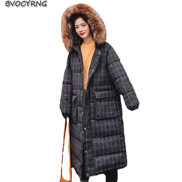 kukuletalı kalın sıcak üst seviye kadın ceket başında uzun pamuklu ceket ceket kız öğrenci gevşek ceket 2019 kış pamuk parka Plaid