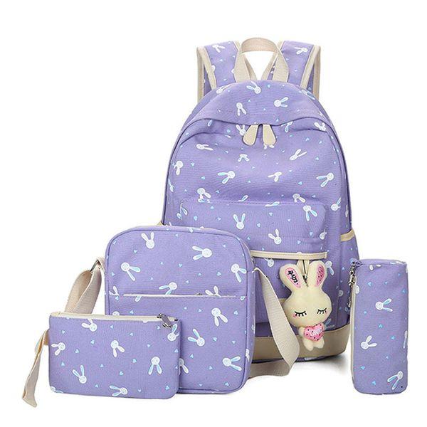 4pcs/sets 2019 Cartoon Rabbit Printing School Bag Canvas Schoolbags For Teenage Cute Girls Bookbag Children Y19062401