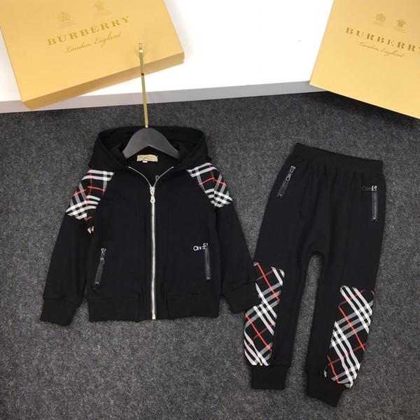 Çocuk ceketleri setleri çocuklar giysi tasarımcısı kapüşonlu ceket + sweatpants 2 adet sonbahar erkek ve kız klasik ekose dikiş setleri