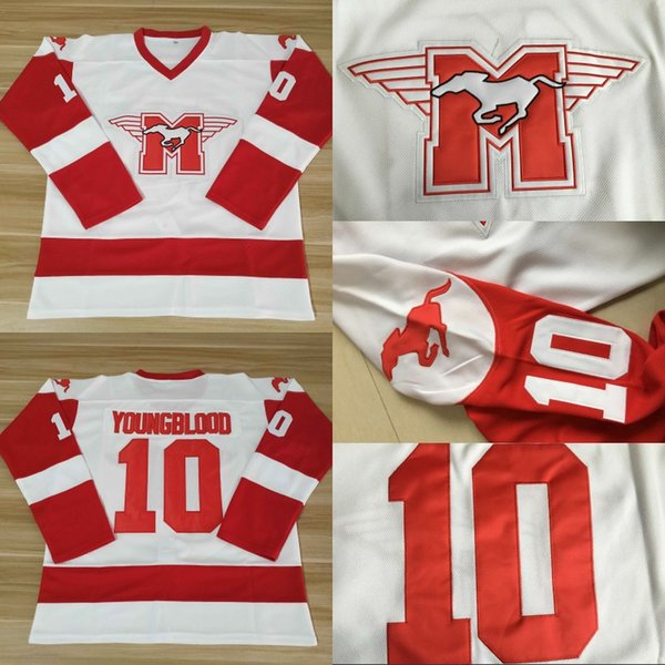 Men Movie Jersey 10 Hamilton Mustangs Ice Hockey Jersey Custom Any Name Number White Free Shipping
