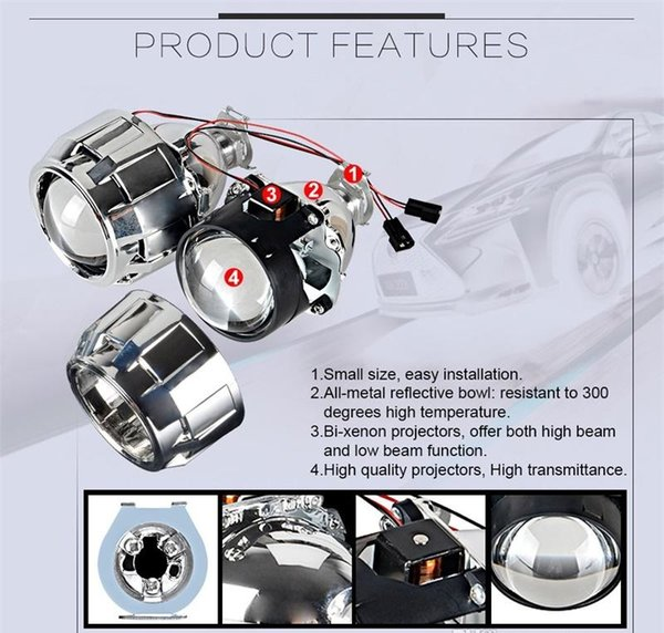 Car Styling Mini 2.5 inches WST HID Bi xenon Headlight Projector Lens Retrofit DIY H7 H4 Headlamp Lenses, Use H1 Bulbs