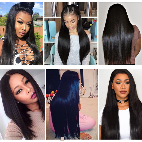 Full Lace Human Hair Wigs Best Virgin Brazilian Peruvian Straight Lace Frontal Wigs Natural Color For Black Women