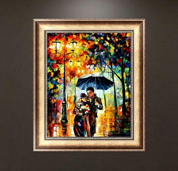 5D DIY Lovers Walking in the Rain Oil Painting Landscape Full of Diamond Painting Cross Stitch Kits Over drilling Home Decoration