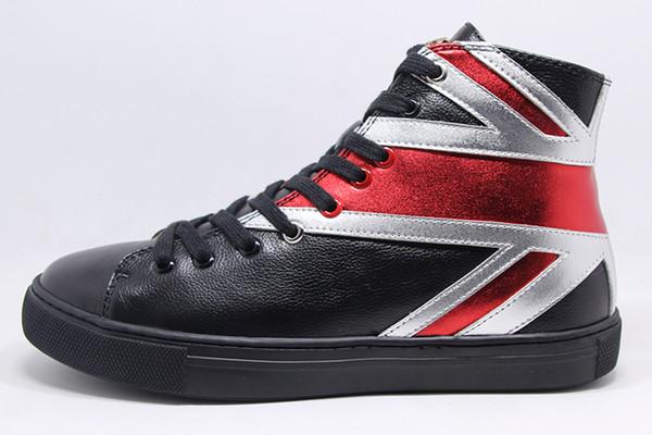 Alta Qualidade Marca Designer de Couro Genuíno de Alta-Top Mulheres E Mens Lazer Britânico Union Jack Sapatos Casuais Carta Pantera Tigre Sneaker