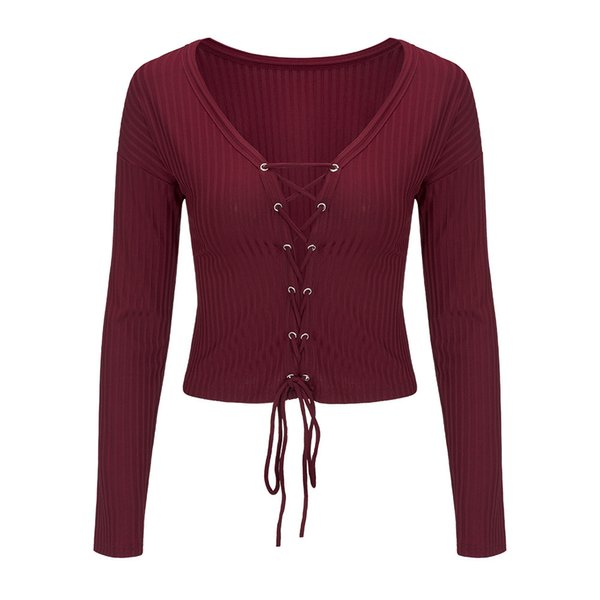 Women Spring Autumn crop top Tee Sexy lace up V-neck Straps Slim Basic Knitted Pullover Solid Color Sweater