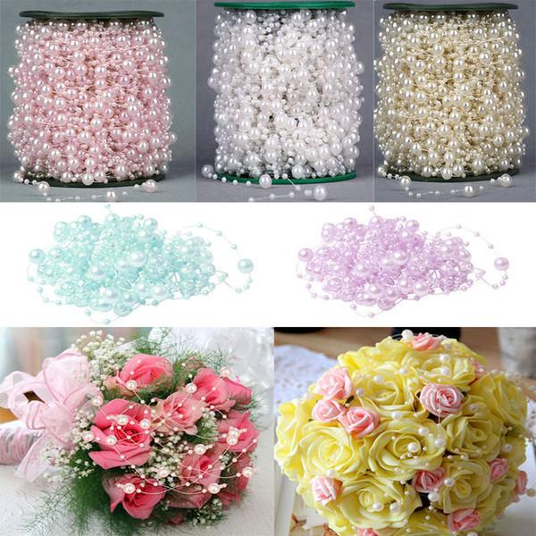 GXINUG 5M Pearl Garland Wedding String Beads Chain Flower Garland Wedding Craft Card Bride Baby shower DIY Decoration