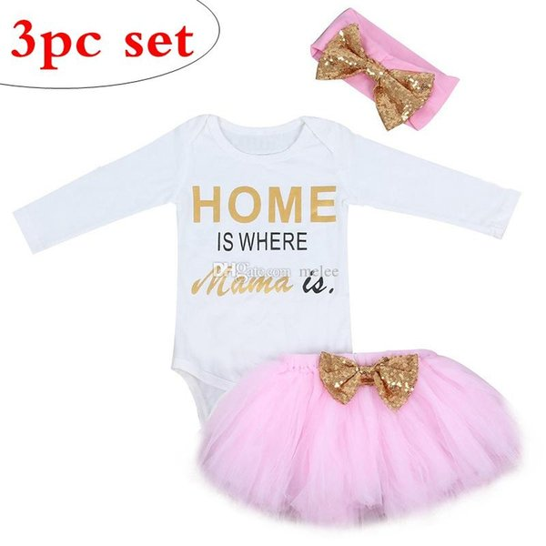 """""""HOME IS WHERE MAMA IS."""" 2019 NEW GIRLS long sleeved ROMPERS tops & PINK TUTUS & SEQUINS BOW HEADBAND 3pc set"""