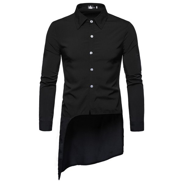 2019 Spring summer asymmetric design men long shirt vintage street punk hip hop blouse mens black white red casual shirts camisa