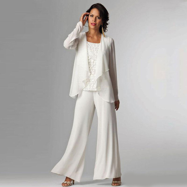 Fildişi Şifon Anne Gelin Pant Suits Bateau Boyun Dantel Uzun Kollu Ceket Ile Anneler Düğün Konuk Elbise Damat Elbiseler