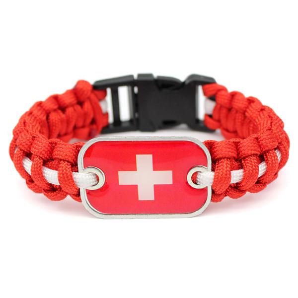 Boho Unisex Red White Umbrella Rope Bracelet & Bangles Glass Rectangle Switzerland National Flag Survival Paracord Jewelry pulseira feminina