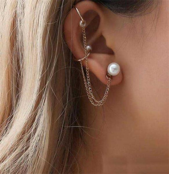 2019 New Fashion Tassel Chain Imitation Pearl Earrings For Women Punk Style Ear Cuff Clip Earrings Female Jewelry