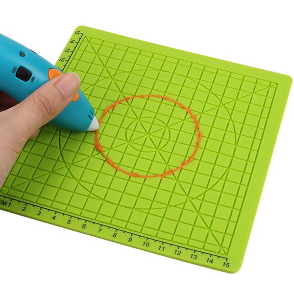 Herramientas del tablero de dibujo con 2 tapones de dedos Plantilla de tapete de silicona para niños, niños, verdes, 3D, accesorio educativo