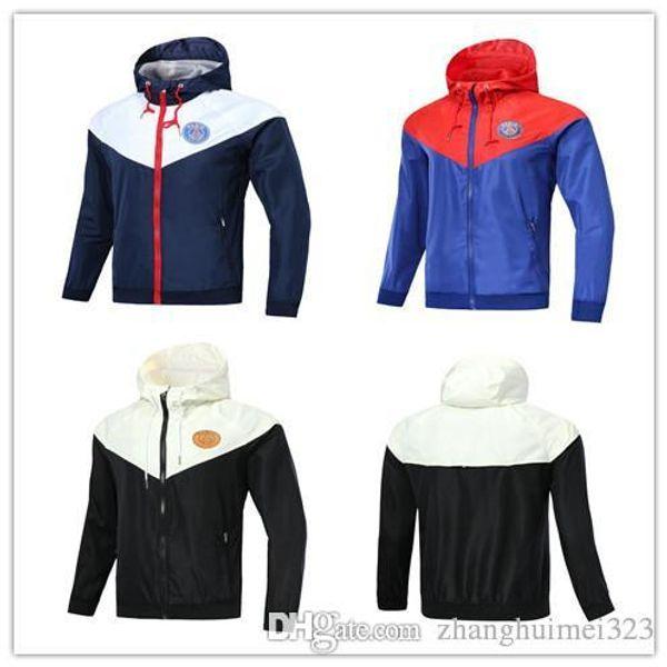 nuevo 2018 19 Paris cremallera cortaviento chaqueta de manga larga abrigo 2018 2019 psg Rojo y azul deportes de invierno rompevientos con capucha plus