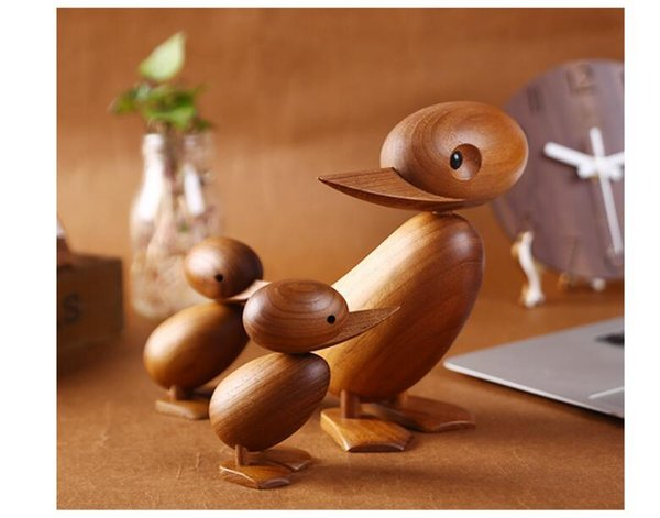 Woodcarving Puppet Classic Creative Teak Decoration Duckling Nordic Ho me Decoration Factory Wholesale Direct Sale Arts and Crafts