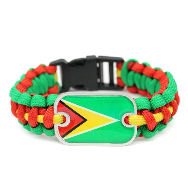 Handmade Vintage Green Red Yellow Umbrella Rope Charm Bracelet Punk Glass Rectangle Guyana National Flag Survival Paracord Women Men Jewelry