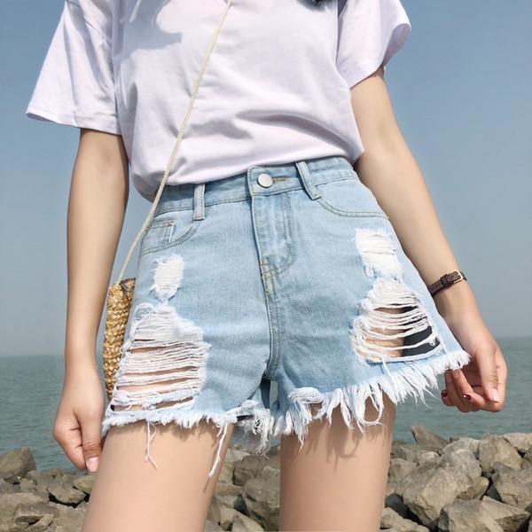 2019 Euro Estilo Mulheres Denim Shorts Do Vintage meados de Cintura Borla Jeans Shorts Street Wear Sexy Ampla Perna Para O Verão