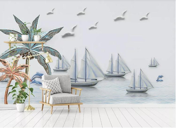 Custom 3D Photo Wallpaper Mural Hand Painted 3D embossed Mediterranean boat Wall Mural Living Room Home Decor Painting Wall Paper