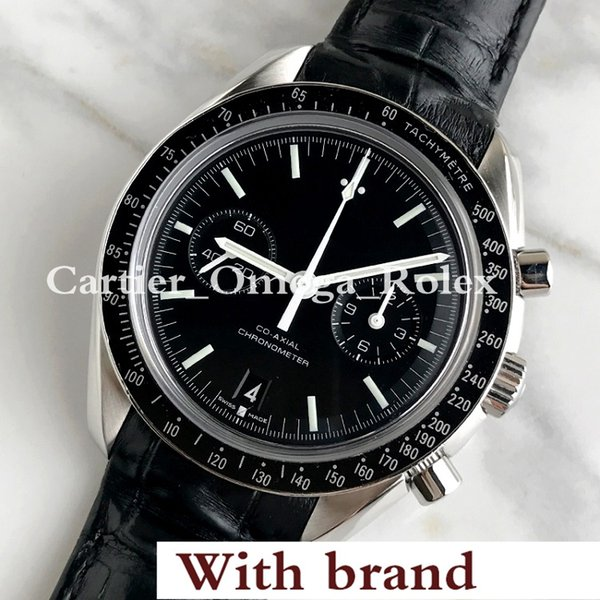 Hot Hot New SPEED Series MASTER CO-AXIAL black multi-function dial, leather strap, sapphire glass, luxury men's wristwatch