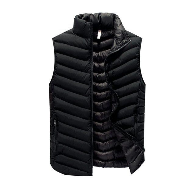 High Quality Black Men Vest 2019 Winter Male Waistcoat Slim Fit Sleeveless Jacket Casual Vest Man Plus Size L-4XL Drop Shipping