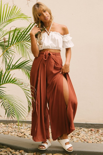 2019 new fashion European and American women's waistband, high waist and wide legs pants, trousers and children's casual pants