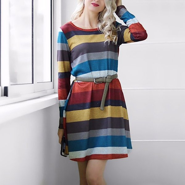 2019 autumn winter women dress o-neck long sleeve striped pocket loose casual midi knitted sweater dress party dresses
