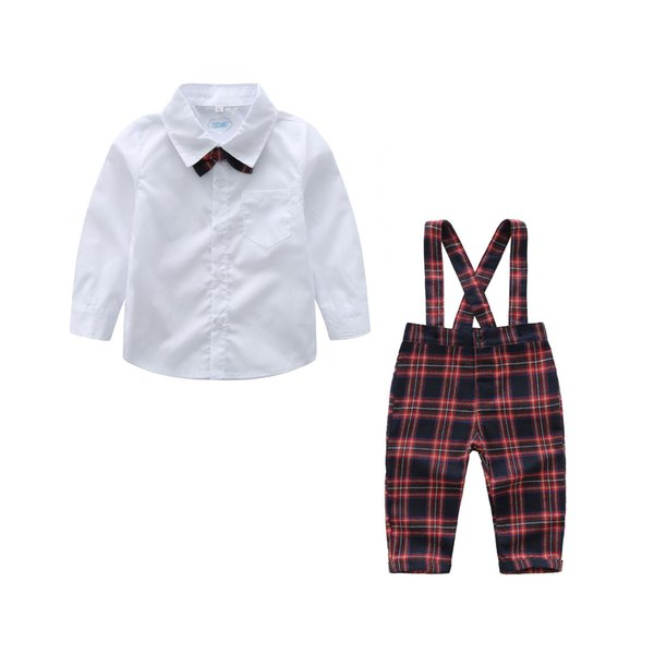 Spring European and American children's long-sleeved shirt plaid bib suit set boy gentleman suit college wind