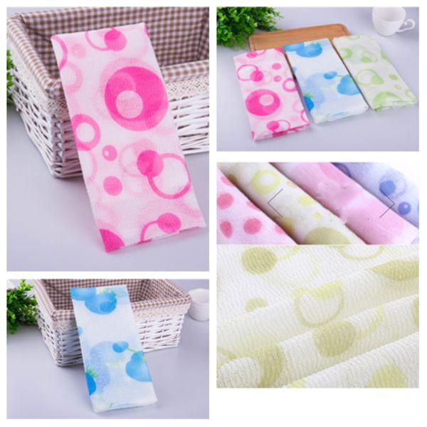 top popular hot style strip printing massage towel lengthening roving rub back towel Bath Brushes rubbing back foam exfoliation towel T2I5248 2019