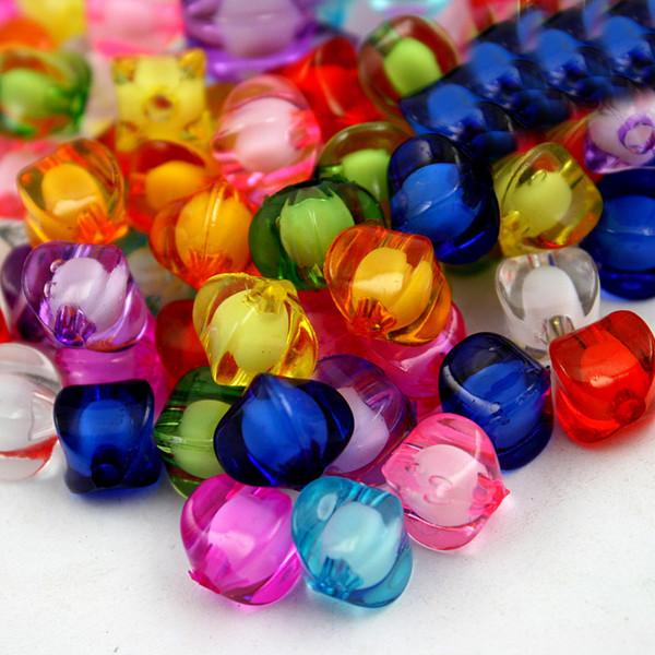 8 * 8mm 100pcs / lot perline acriliche tonde molti colori da scegliere per il braccialetto fai da te accessori per bambini Dipartimento di artigianato
